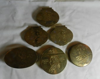 6 Mottahedeh Brass Boxes with images of different people                                                 ---   39-52