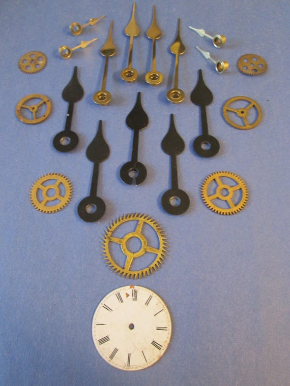12 Assorted Vintage Spade Design Clock Hands and Parts for your Clock Projects, Steampunk Art, Jewelry Crafts