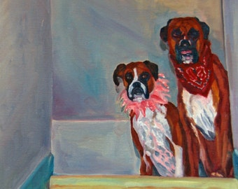 Pet Portrait Fine Art Print Two Boxer Dogs