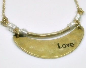 Personalized Crescent Necklace, Rustic Hammered Message Necklace, Love Jewelry, Valentines Day Gift, Message Jewelry, Stamped Metal, Boho
