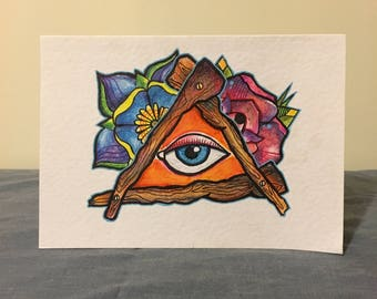 Hand drawn custom tattoo inspired cards