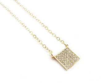 Small Gold Square Necklace-gold square, gold necklace, dainty necklace, layering necklace, rhinestone square