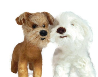 THREE Custom needle felted dogs  - needle felted  puppy soft sculpture -  small size - Toy Dog terrier ornament - Crossbreed sculpture