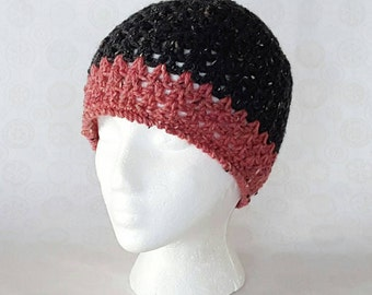 Color Block Crochet Tweed Wool Beanie - Charcoal / Pink