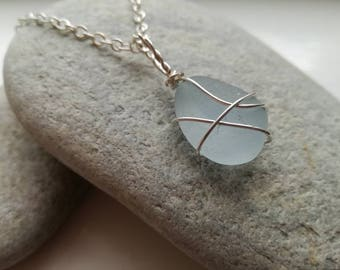 Handmade Pale Blue Sea Glass Pendant Necklace