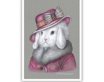 Rabbit Art Print - Lady Rabbit in Pink - Cute Pet Rabbit Wall Art - Pets in Art - Whimsical Animal Portraits by Maria Pishvanova