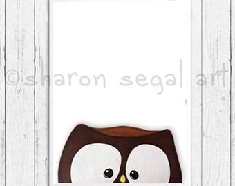 Owl print.  Zoo animals. Whimsical owl.  Kids decor.  Nursery decor. Cartoon owl.