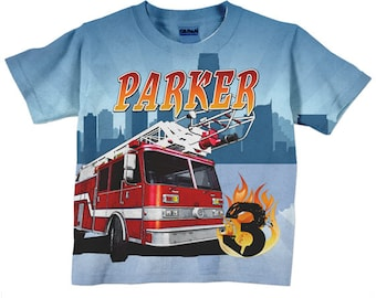Fireman Birthday Shirt, Personalized Boys Firefighter, Fire Engine, Fire Engine T-Shirt