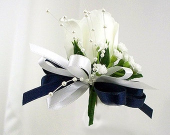 Pin on corsage Navy blue and white, Silk flower corsage, Wedding corsage, Mother of the groom, Mother of the bride, Bridal shower