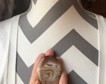 55mm Oval Shaped Brown and White Swirl Agate Pendant Bead