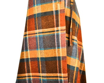 Size: xxs / 0 Turquoise, Blue, Mustard Yelllow and Red Wool Plaid Wrap Skirt