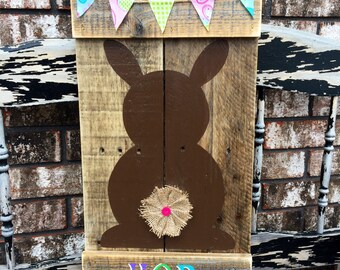Bunny Hop Pallet Wood Sign / Wooden Bunny / Easter Bunny /Chocolate bunny/ Spring Sign/ Easter Sign/ Spring decor/ Easter decor / Bunny Sign
