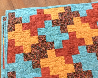 Handmade Modern Lap Quilt, Geometric Quilt, Orange and Teal, Quilts for Sale, Ready to Ship