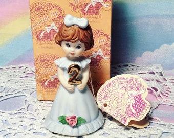 "Vintage Enesco Ceramic 2nd Birthday  ""Growing up birthday girls"" figure 1982"
