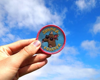 Summer Forever Dog Embroidered Patch - Stick on Patch - Dog Patch - Summer - Embroidered Patch - Flair - Dogs - Puppy - Pink - Accessories