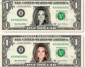 Kate Middleton on Real Money - Handmade Custom Dollar Bill Art