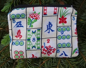 Mahjong coin purse, gift card pouch, credit card case, pick from 3 fabrics, The  Raven