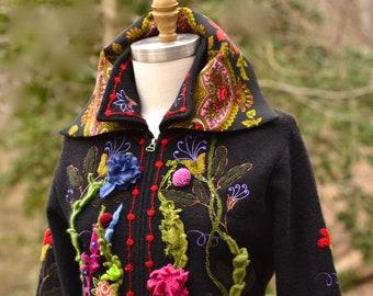 Floral sweater COAT, fantasy art to wear, refashioned OOAK clothing, Woodland MORI girl, long festival boho Coat, size L. Ready to ship