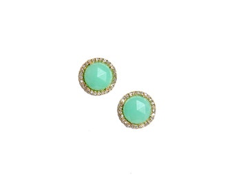 Yellow Gold Pave Diamond Chrysoprase Earrings/Studs
