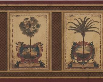 Wallpaper Border Vintage Squares Palm Trees Dark Brown Wall Decor Modern Design Roll AU5081B