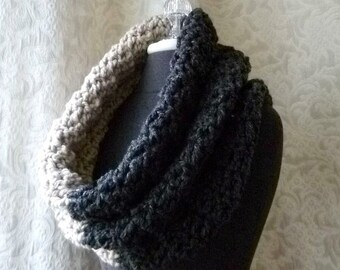 Black Friday Free Shipping - Mammoth Cowl - Chunky Oversized Crocheted Cowl - Charcoal and Linen
