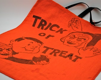 Vintage Halloween Trick or Treat Bag - Cloth - Happy Halloween - Trick or Treat - Cat - Scary Witch - Boy - Witch Mask - Apple - Collectible