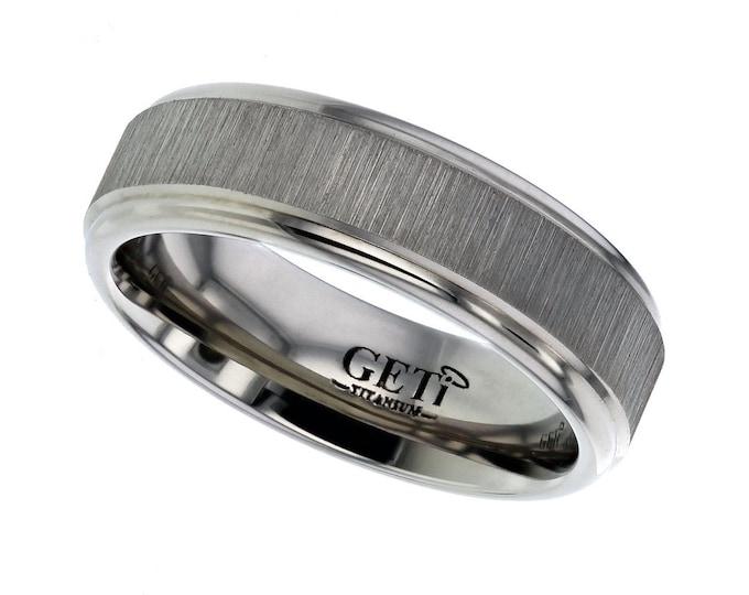Titanium 7mm Flat Court Wedding Ring Engine Turned Matt Centre Stripes - SIZE T