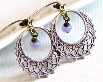 Lavender Hoop Earrings - Filigree Earrings, Chandelier Earrings, Patina Jewelry