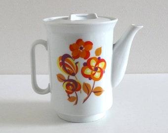 Vintage 70s Orange Flowers Tea Pot or Coffee Pot