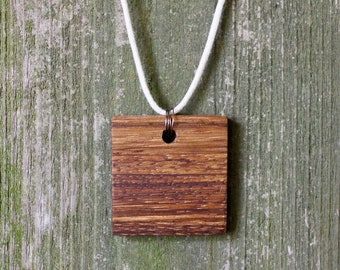 Natural Zebra Wood Necklace, Wood Pendant, Natural Cord with Bronze Accents, Minimalist Jewelry, Simple Square Necklace