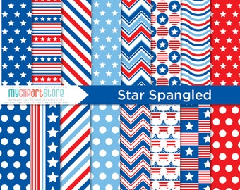 Digital Paper - 4th of July, Independence Day, Star Spangled, Scrapbook Paper, Digital Pattern, Commercial Use, JPEG, PDF