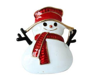 Gold Plated Happy Winter Snowman Retractable Name Badge Holder.