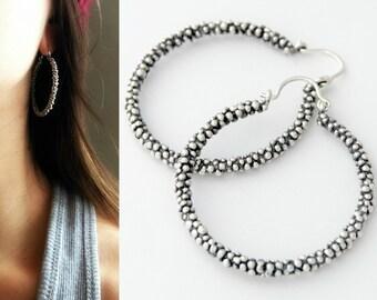 Ball hoops sterling silver balls earrings jumbo caviar hoops