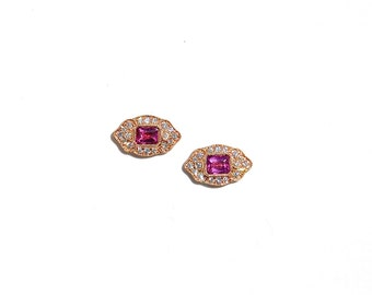18k Diamond & Pink Sapphire Earrings/Studs *Made To Order Only*