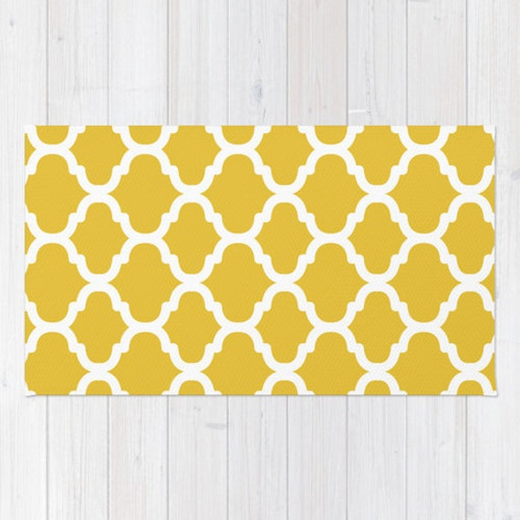 Moroccan Pattern Area Rug Mustard Yellow And White Modern