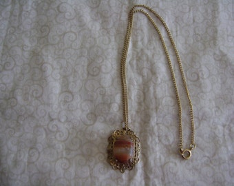 Vintage Agate Stone Pendant and Necklace