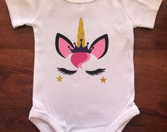 Princess Unicorn Baby Onesie Bodysuit
