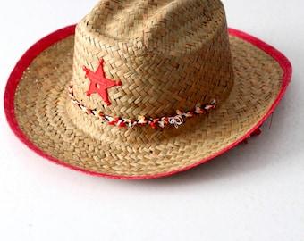 vintage children's straw hat, red sheriff's hat