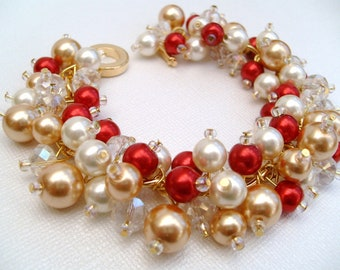 Pearl Bridesmaid Bracelets, Bridesmaid Jewelry, Red, Ivory and Gold, Custom Colours, Cluster Bracelet, Pearl Beaded Bracelet