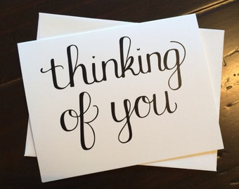 Thinking of You Card - folded, hand lettered notecard with envelope