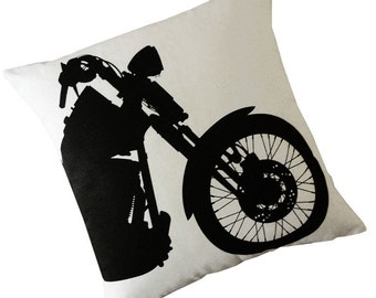 Harley Motorcycle silk screened cotton throw pillow 18 inch black on ivory white