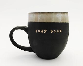 Lady Boss Mug -Handpainted 18k GOLD, Black Porcelain