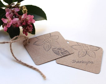 FLORAL/ FLOWER party favour tags, floral gift tags, flower thank you tags, woodland favour bag tags,  X 10