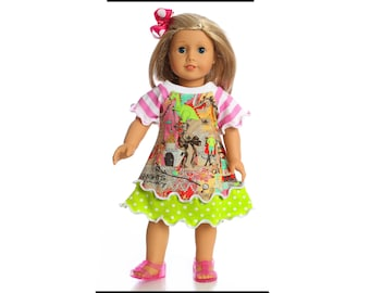 18 inch doll clothes American Made for Princess dress girl doll 15 inch doll dress 14.5 inch doll dress Birthday dress Doll Clothing Baby