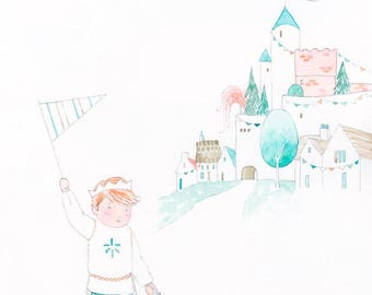 King of the Castle - Giclée Watercolor Print for Children's Bedroom Decor