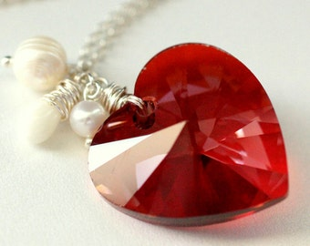 Large Crystal Heart Necklace. Red Swarovski Elements Necklace with Fresh Water Pearl and Coral Teardrop. Handmade Jewelry.