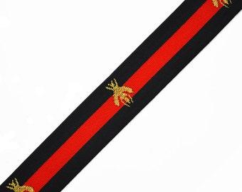 "1-3/8"" Bee Elastic Stretch Band Ribbon Trim for headband, hand band and waist belt, 1 yard, TR-11372"