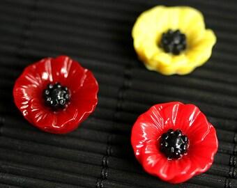 Poppy Flower Fridge Magnets. Set of Three Refrigerator Magnets. Yellow and Red Poppy Flower Magnet Set. Fridge Magnets. Home Decor.