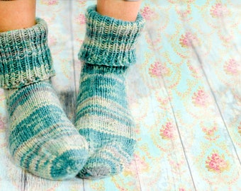 Dusky Sea foam GREEN House Shoes - Chunky Hand knitted VEGAN MICROFIBer slippers - Cosy Unisex Bed Socks - Retro warm winter house Booties