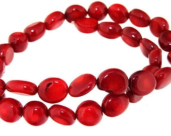 One Strand Egg Red Coral Gemstone Beads Strand 10mm 16inch